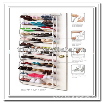 12 pair wall mounted over the door non-slip iron shoe rack