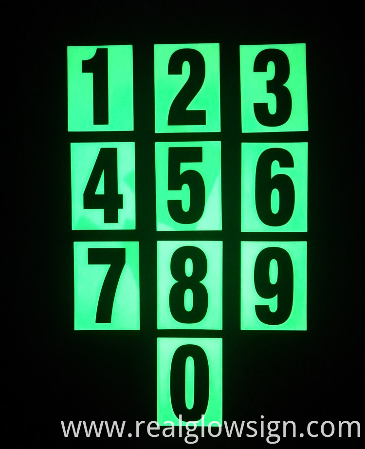 photoluminescent FLAT NUMBERS night color