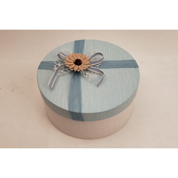 Decorated Round Flower Box With Small Chrysanthemum
