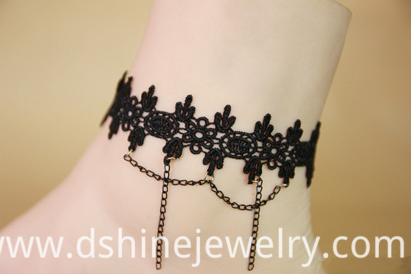 Black Lace Anklet With Chains