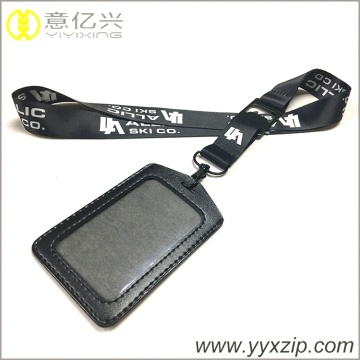 Simple jacquard logo games lanyard with card holder