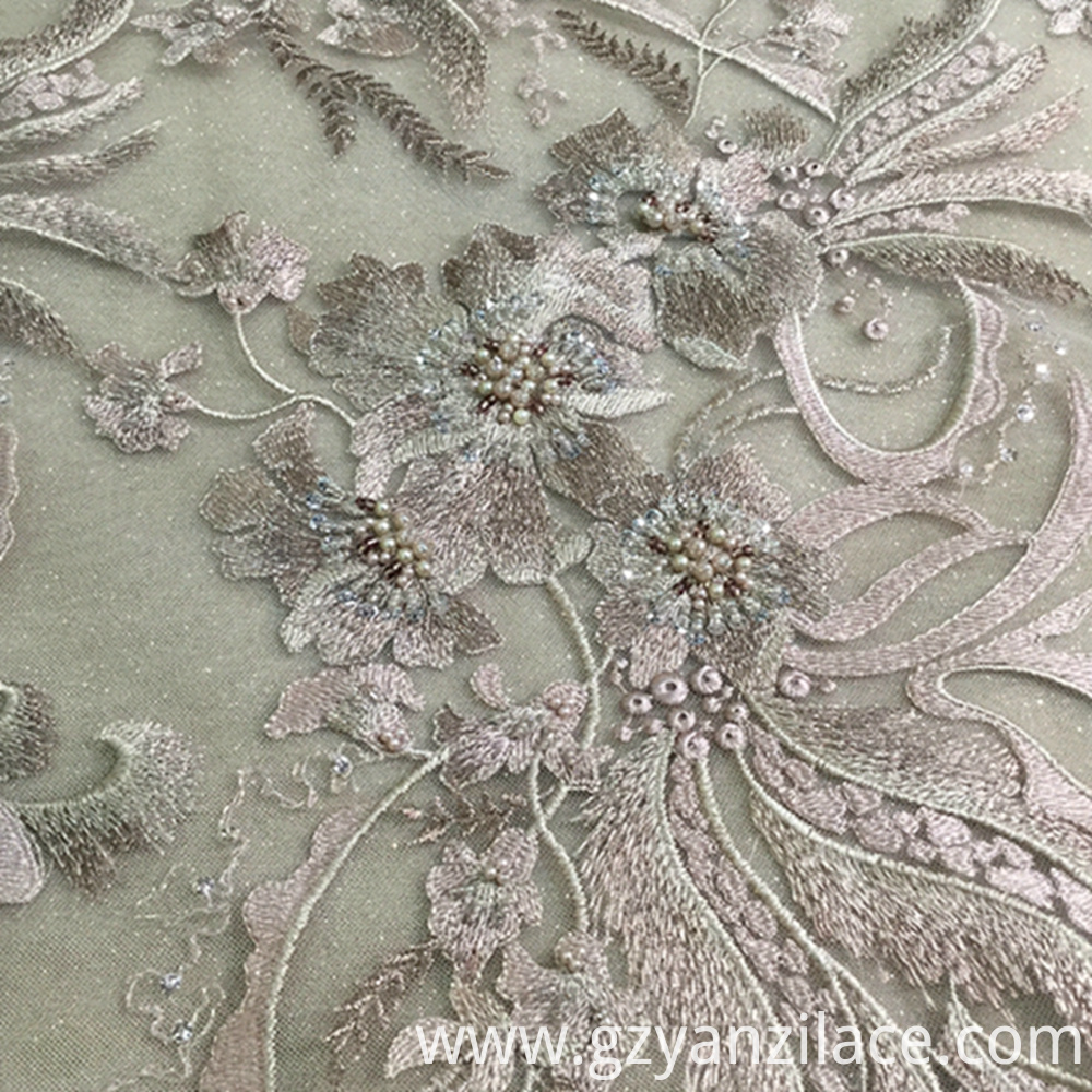 Dirty Pink Beaded Embroidery 3D Lace Fabric