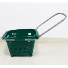 wholesale Supermarket plastic shopping basket with wheels