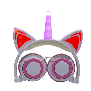 Wholesale LED light up Unicorn Cat Ear Headphones