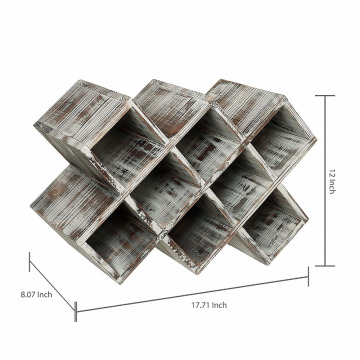 Rustic wooden wine holder 8 bottles shelf wine rack