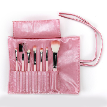 Light Pink PU bag with 7 makeup brush