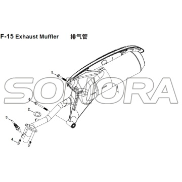 F-15 Exhaust Muffler for XS125T-16A Fiddle III Spare Part Top Quality