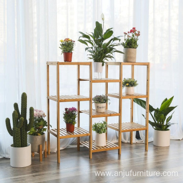 Bamboo Customizable Plant Stand Shelf Flower Pots Holder Display Rack Utility Shelf Bathroom Rack 9-Tier Storage Rack Shelving