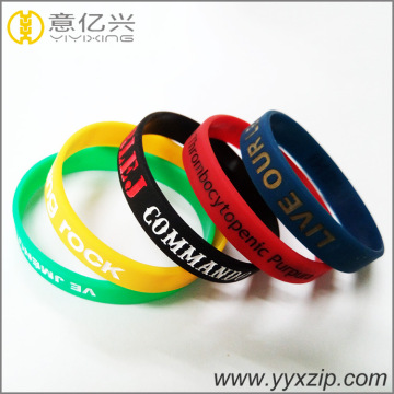 silkscreen logo personalized ink filled silicone bracelets