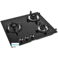Black Toughened Glass 3 Burner Gas Hobtop Glass