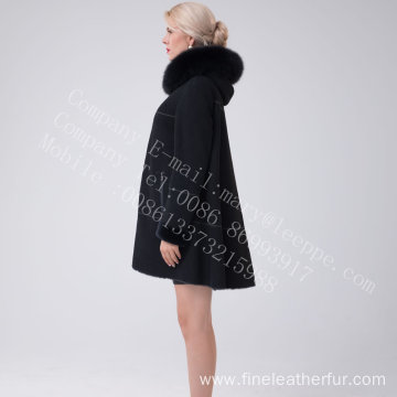 Australia Merino Shearling Hooded Jcket For Lady
