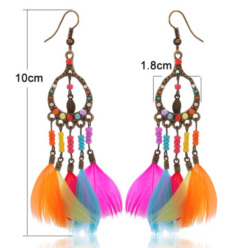 Multicolors Tiny Beads Feather Girls Earrings Alloy Earrings
