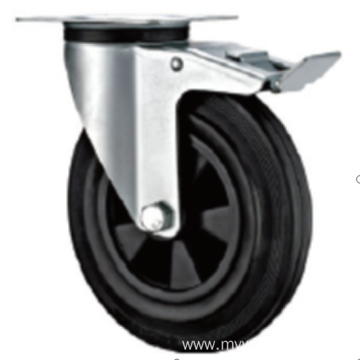 160mm  European industrial rubber  swivel caster with brake