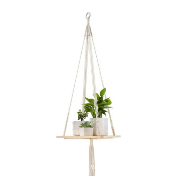 Rustic Home Decor Display Wood Wall Hanging Shelf Floating Shelves Swing with cotton rope