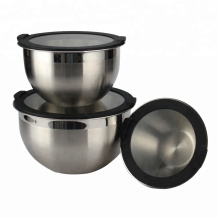 Customized for Mixing Bowl Set Stainless Steel Salad Bowl with Glass Lid export to Spain Exporter