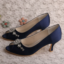 Navy Blue Heels for Wedding Peep Toe