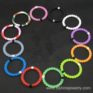 High Stretch Funny Mixed Color Small Silicone Bead Bracelet