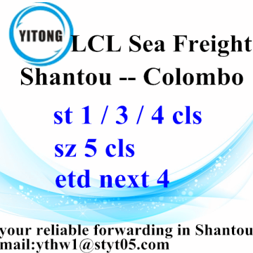 Shantou LCL Consolidation Freight Agent to Colombo