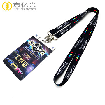 Cheap polyester double buckle black color lanyards wholesale