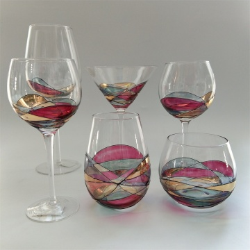 Hand blown multi-color glass drinking set