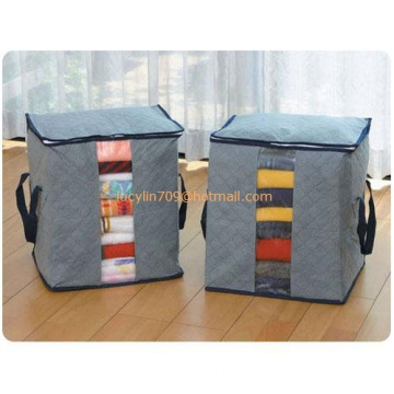 Bamboo Folding Clothes Charcoal Sweater Blanket Closet Organizer Storage Bag Box