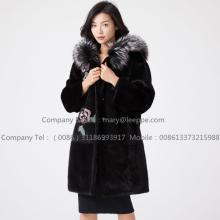 Personlized Products for China Women Mink Fur Coat,Mink Wind Coat,Black Mink Fur Coat Supplier Kopenhagen Reversible Lady Mink Fur Hooded Overcoat export to France Manufacturer