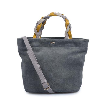Two-Tone Structured Top Handle Satchel Work Bag
