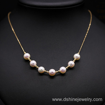 China for Pearl Necklace Exquisite 18K Gold Chain Women Jewelry Real Pearl Necklace supply to Haiti Factory