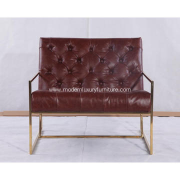 Leather Thin Frame Lounge Chair With Brass Finish
