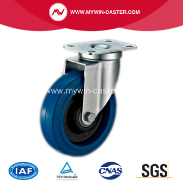 4'' Plate Swivel Blue Elastic Rubber Caster
