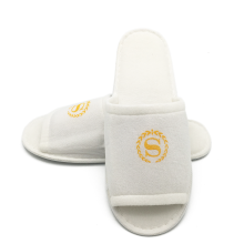 White velour half sole slippers