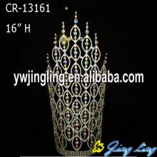 "China Top 10 for China Angel Wing Shape Beauty Pageant Crowns and Tiaras, Glitz King Crowns. 16"" AB Crystal Big Pageant Crowns Tiaras supply to Latvia Factory"