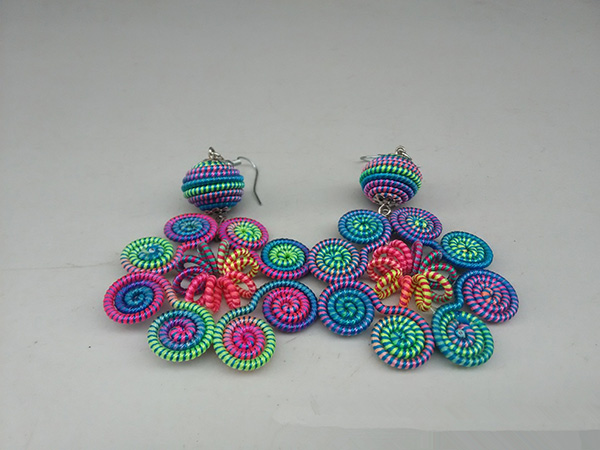 Woven Hoop Dangle Thread Earring