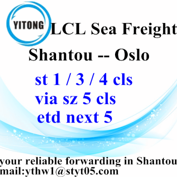 LCL shipping agent from Shantou to Oslo