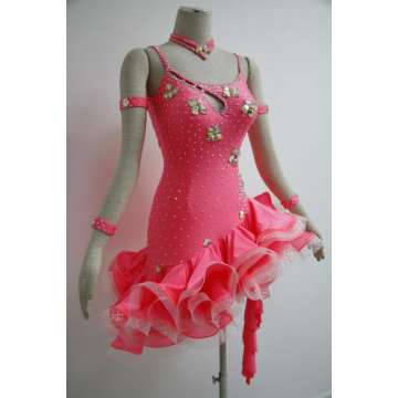 Pink Latin dancesport costume for girls