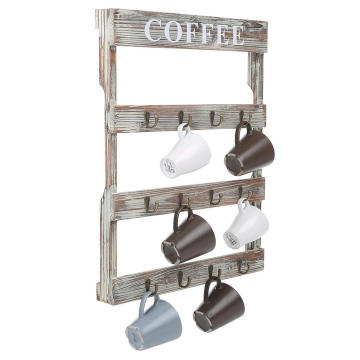 Hook Rustic Wall-Mounted Wood Coffee Mug Holder, Kitchen Storage Rack, Brown