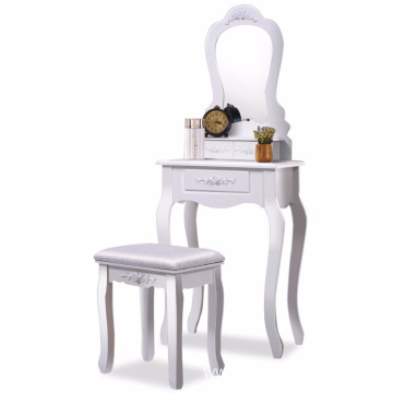 Factory Price for Blue Dressing Table Bathroom Vanity Wood Makeup Dressing Table Stool Set with Mirror export to Guatemala Wholesale