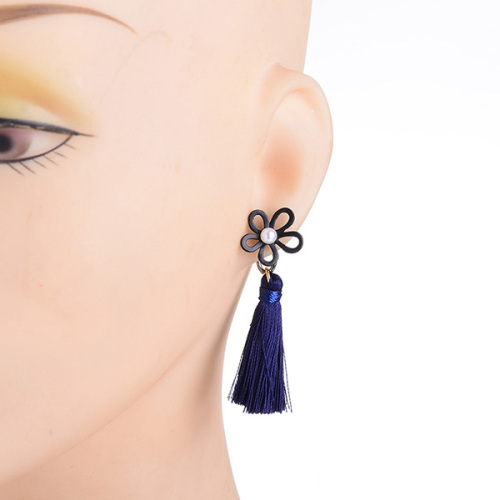 Flower Pearl Earring Studs Long Hanging Drop Tassel Earring