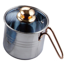 Stainless Steel Milk Pot with Glass Lid