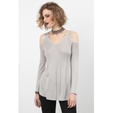 New Fashion Design for Women'S Cashmere Sweaters Cold Shoulder V-Neck Sweater supply to Canada Manufacturers