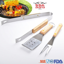 3pcs bbq tools set stainless steel wooden handle
