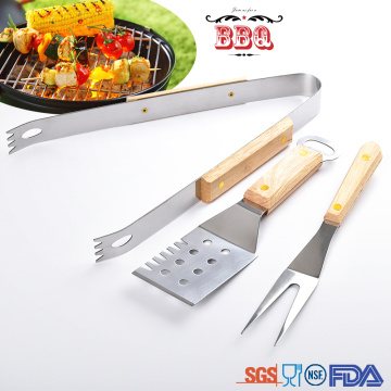 3 Pieces bbq tools set stainless steel wooden handle