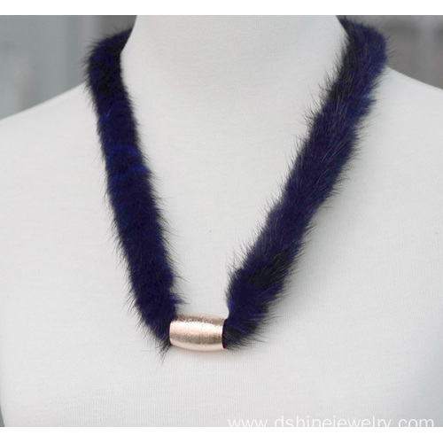 Simple Mink Fur Pom Pom Choker Gold Statement Necklace