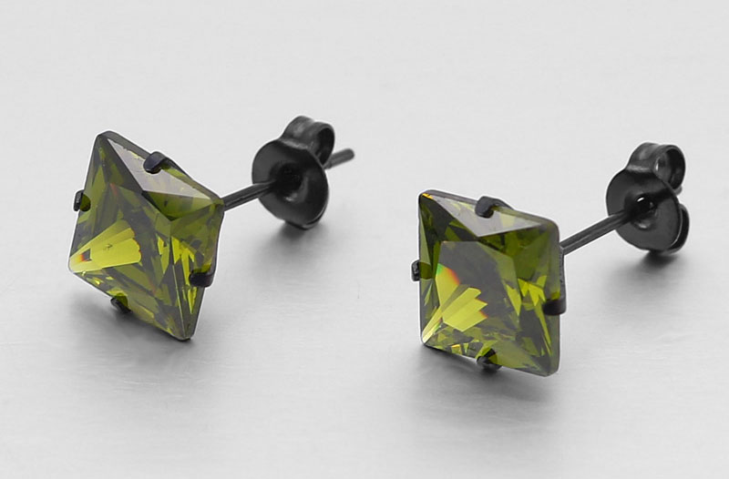square zirconia stud earrings
