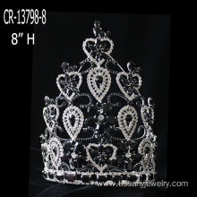 Leading for Snowflake Round Crowns Large Black Rhinestone Pageant Crowns export to Suriname Factory