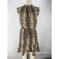 fashion snake printed smocking neck ladies dress