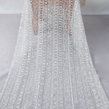 white sequin beaded embroidery fabric mesh lace fabric for fashion wedding dress