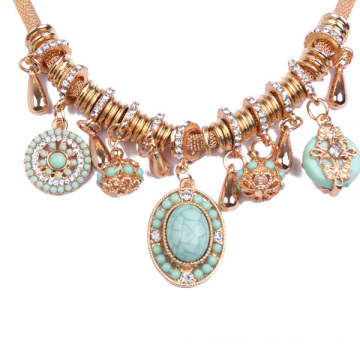 Rose Gold Chain colar strass pingente nupcial joias
