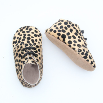 Mo Hair Leopard Soft Sole Baby Oxford Shoes
