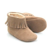 China for Warm Boots Baby Genuine Suede Leather Unisex Baby Moccasins Boots export to Netherlands Factory